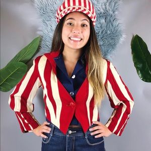 Vtg 80s Striped Cropped Blazer Jacket M